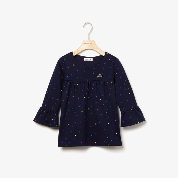 Lacoste Çocuk Lacivert Uzun Kollu Puantiye Baskılı Lacivert T-Shirt