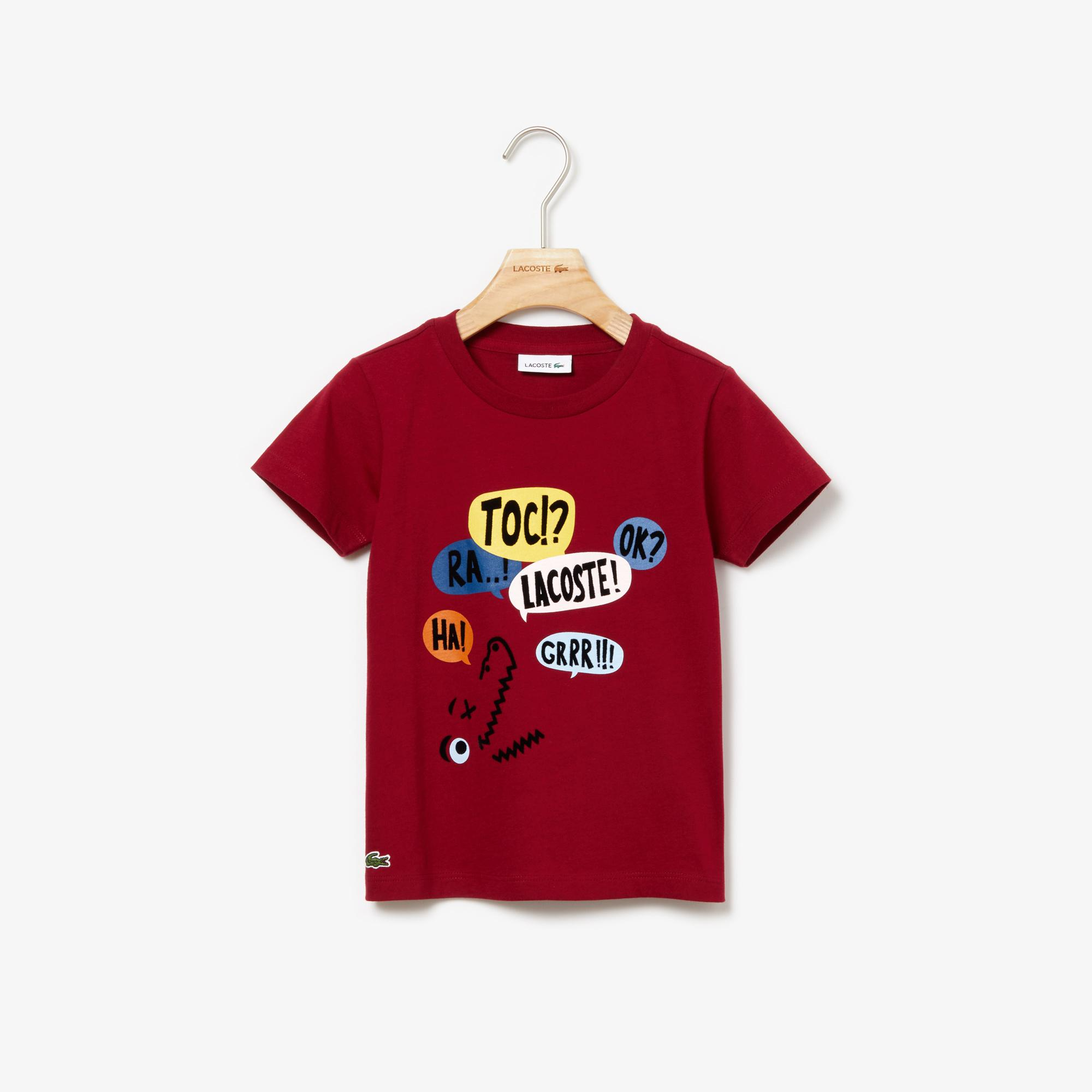 Lacoste Çocuk Baskılı Bordo T-Shirt