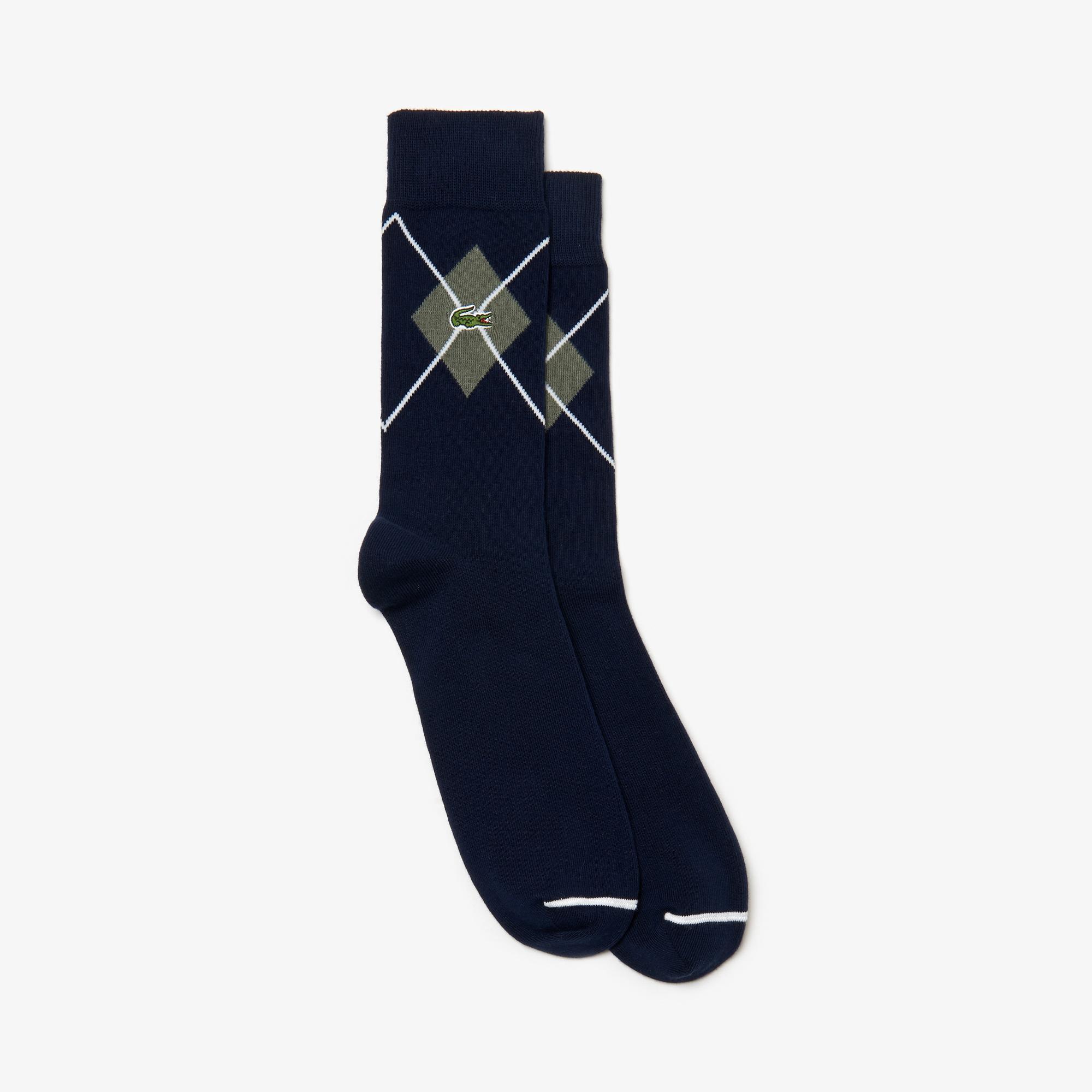 Lacoste Unisex Desenli Lacivert Çorap