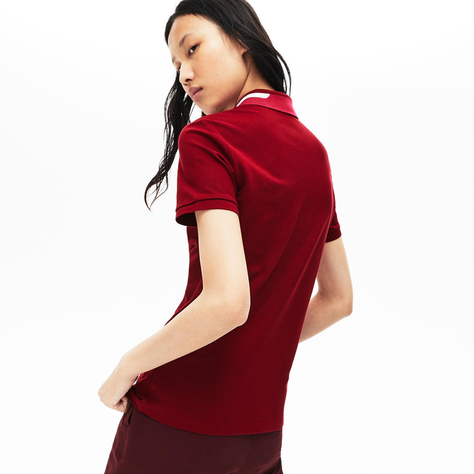 Lacoste Kadın Slim Fit Blok Desen Yakalı Bordo Polo