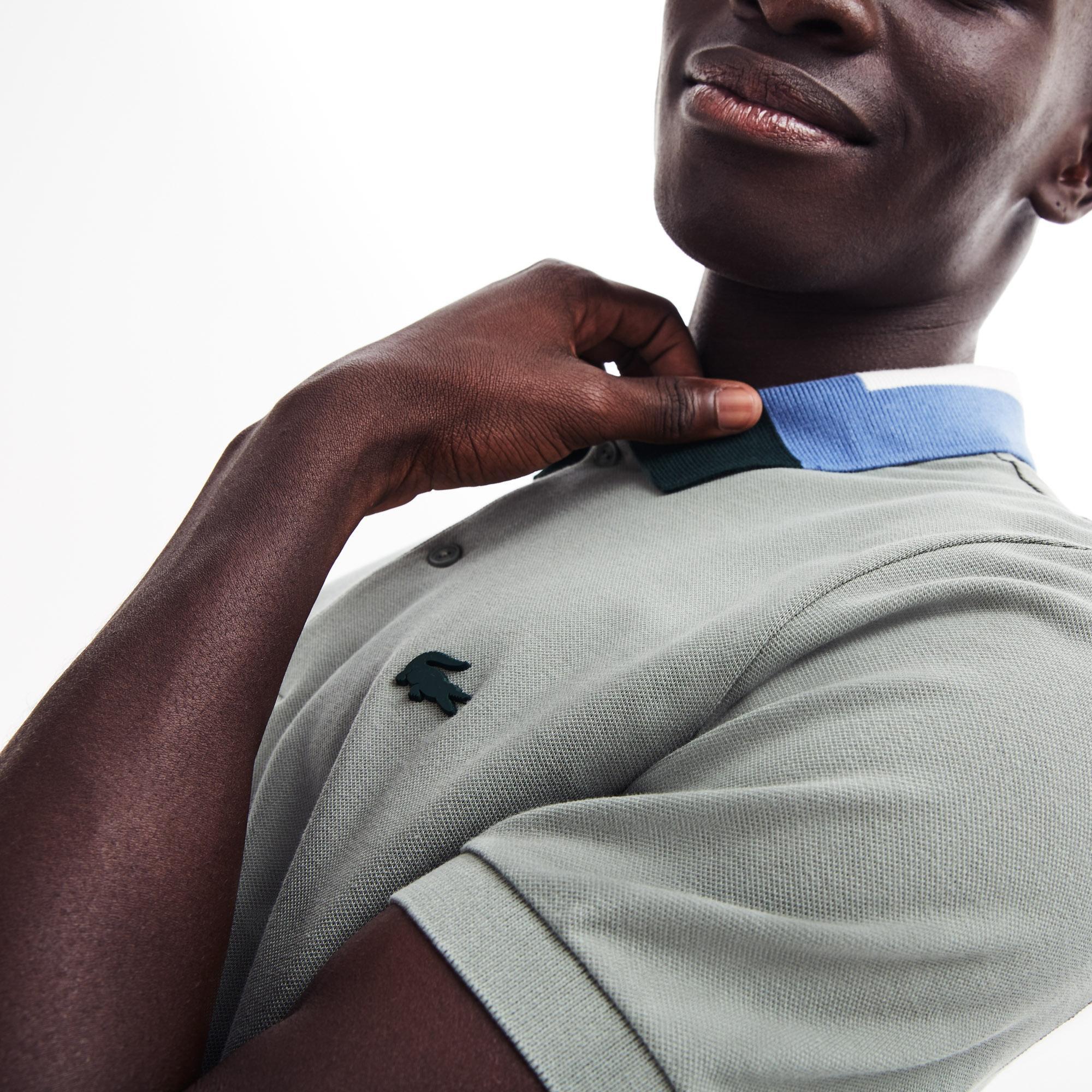 Lacoste Erkek Slim Fit Blok Desen Yakalı Gri Polo