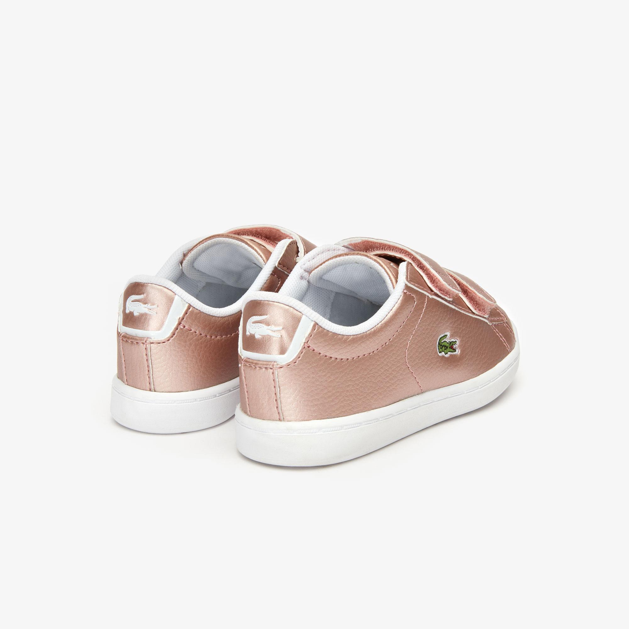 Lacoste Carnaby Evo Strap 319 2 Sui Çocuk Pembe - Beyaz Sneaker