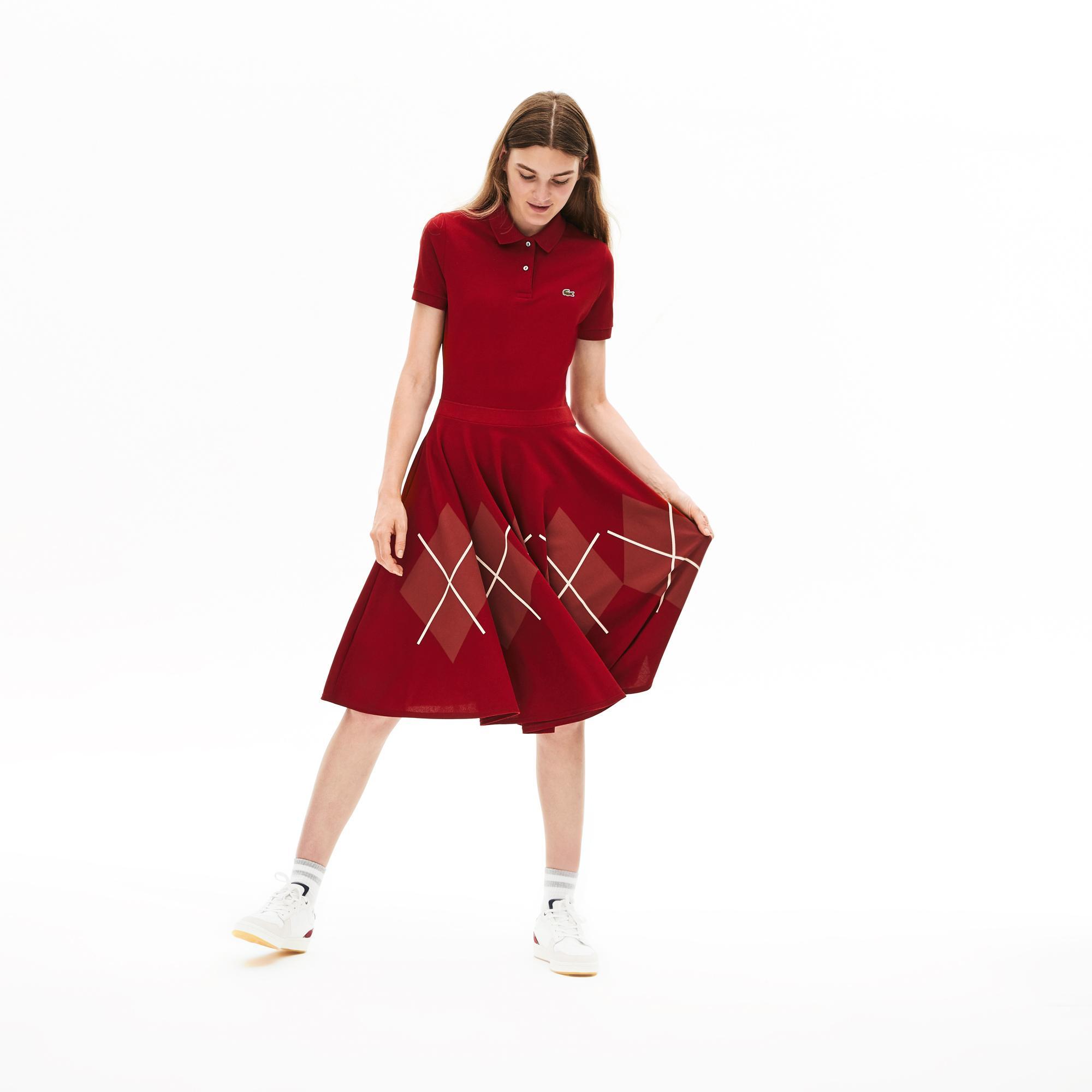 Lacoste Kadın Desenli Polo Yaka Kırmızı Elbise