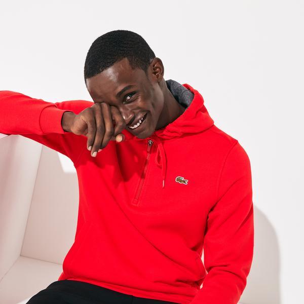 Lacoste Sport Erkek Kapüşonlu Kırmızı Sweatshirt