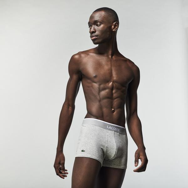 Lacoste Erkek 3'lü Gri - Beyaz - Siyah Boxer