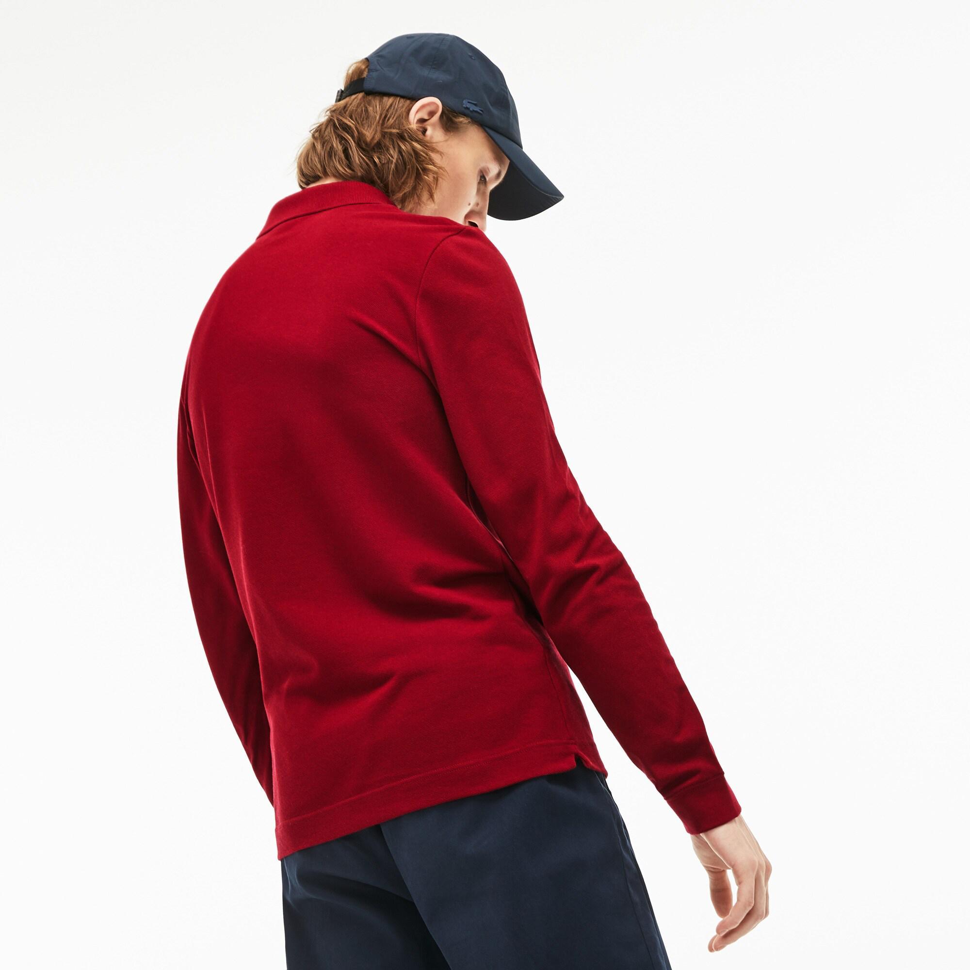 Lacoste Erkek Slim Fit Uzun Kollu Bordo Polo