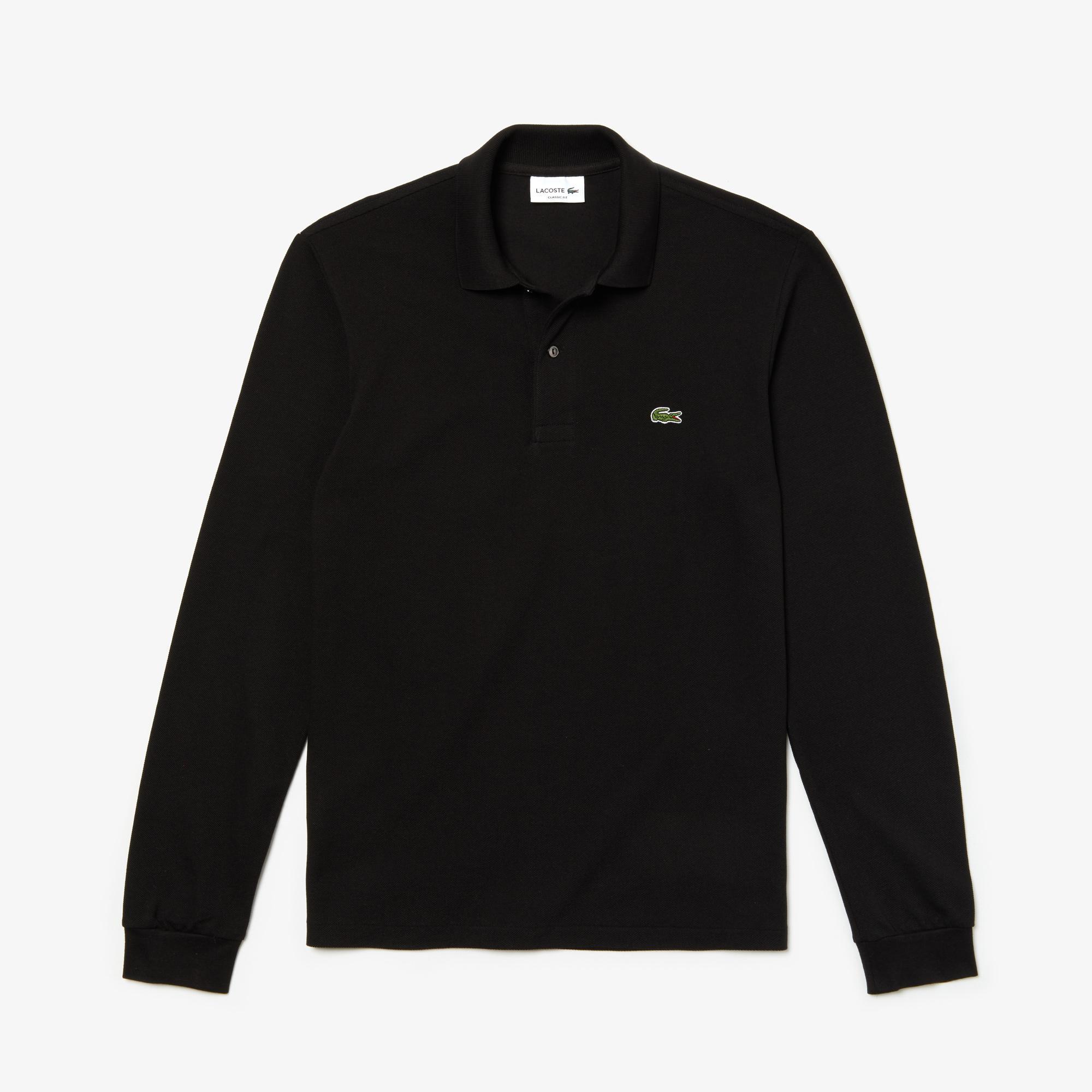 Lacoste Erkek Klasik Fit L1212 Uzun Kollu Siyah Polo