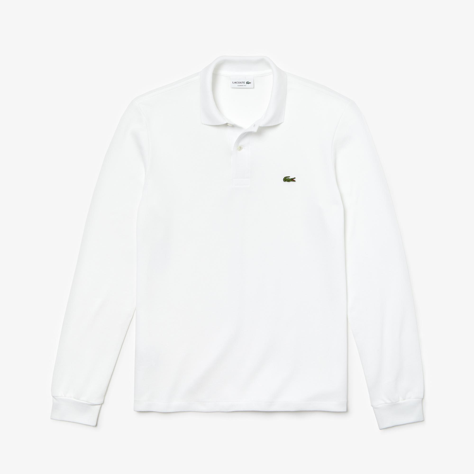 Lacoste Erkek Klasik Fit L1212 Uzun Kollu Beyaz Polo