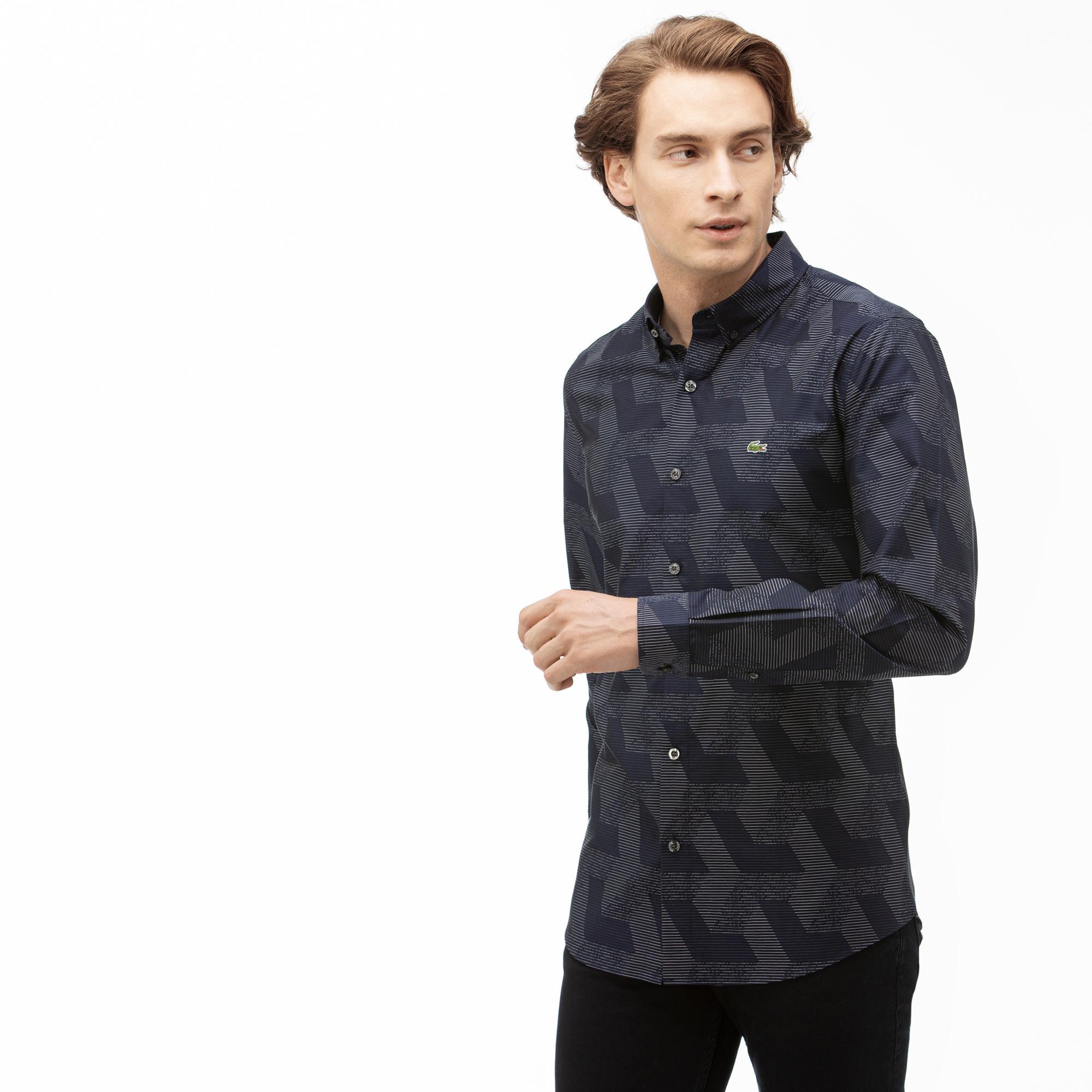 Lacoste Erkek Regular Fit Desenli Lacivert Gömlek