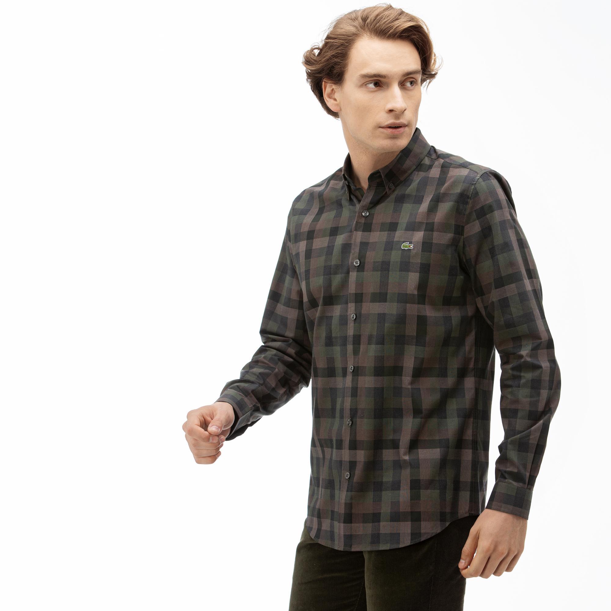 Lacoste Erkek Slim Fit Ekose Desenli Renkli Gömlek