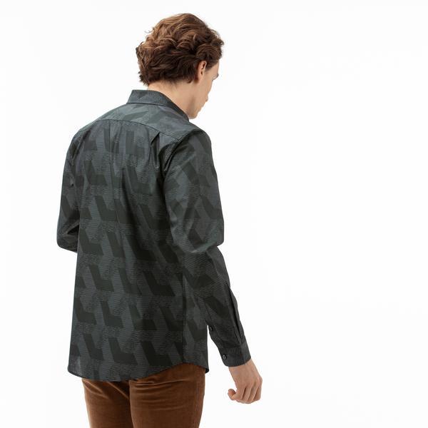 Lacoste Erkek Regular Fit Desenli Yeşil Gömlek