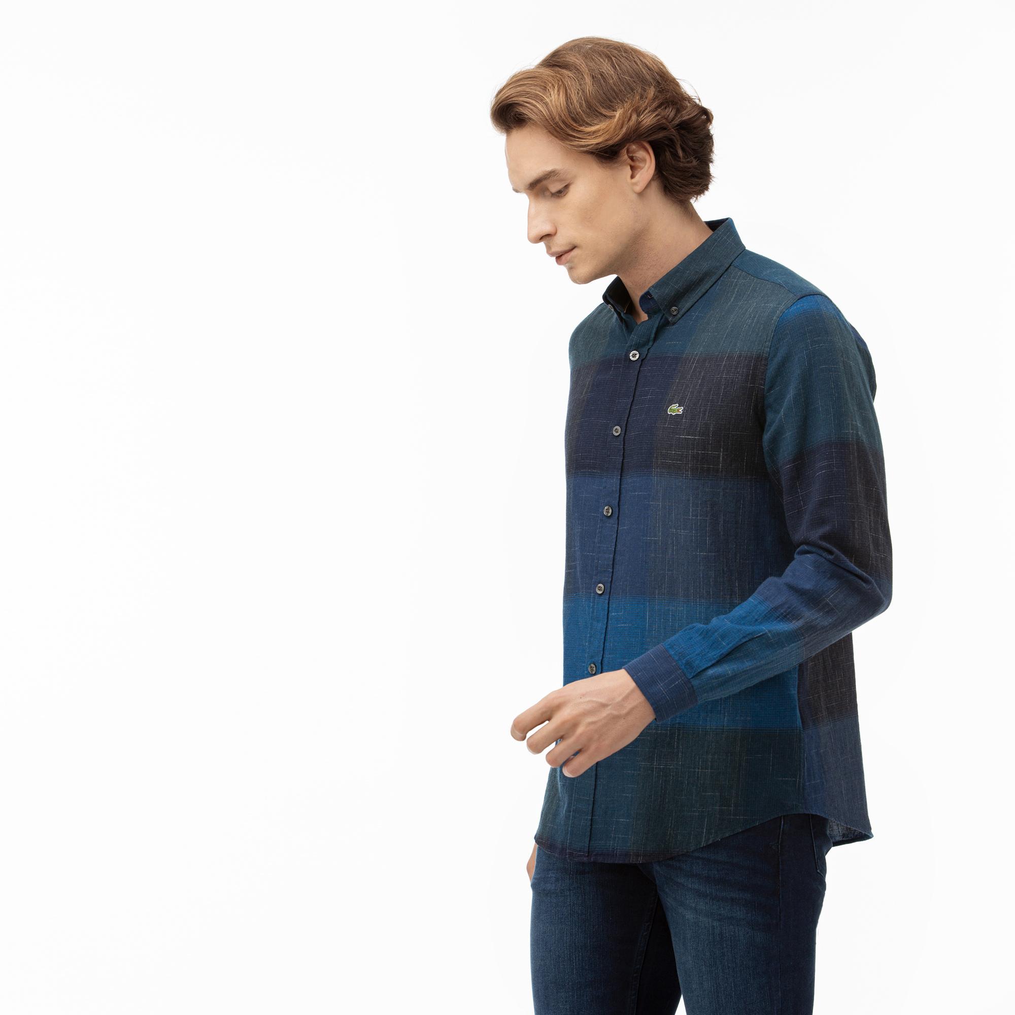 Lacoste Erkek Slim Fit Blok Desenli Lacivert Gömlek