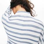Lacoste Kadın Mavi Çizgili Bej Gömlek