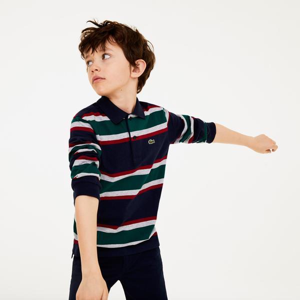 Lacoste Çocuk Blok Desenli Uzun Kollu Renkli Polo
