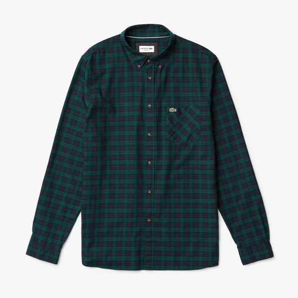 Lacoste Erkek Regular Fit Ekose Desenli Lacivert/Yeşil Gömlek
