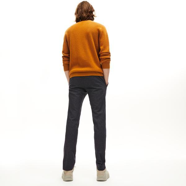 Lacoste Erkek Slim Fit Ekose Desenli Koyu Gri Pantolon