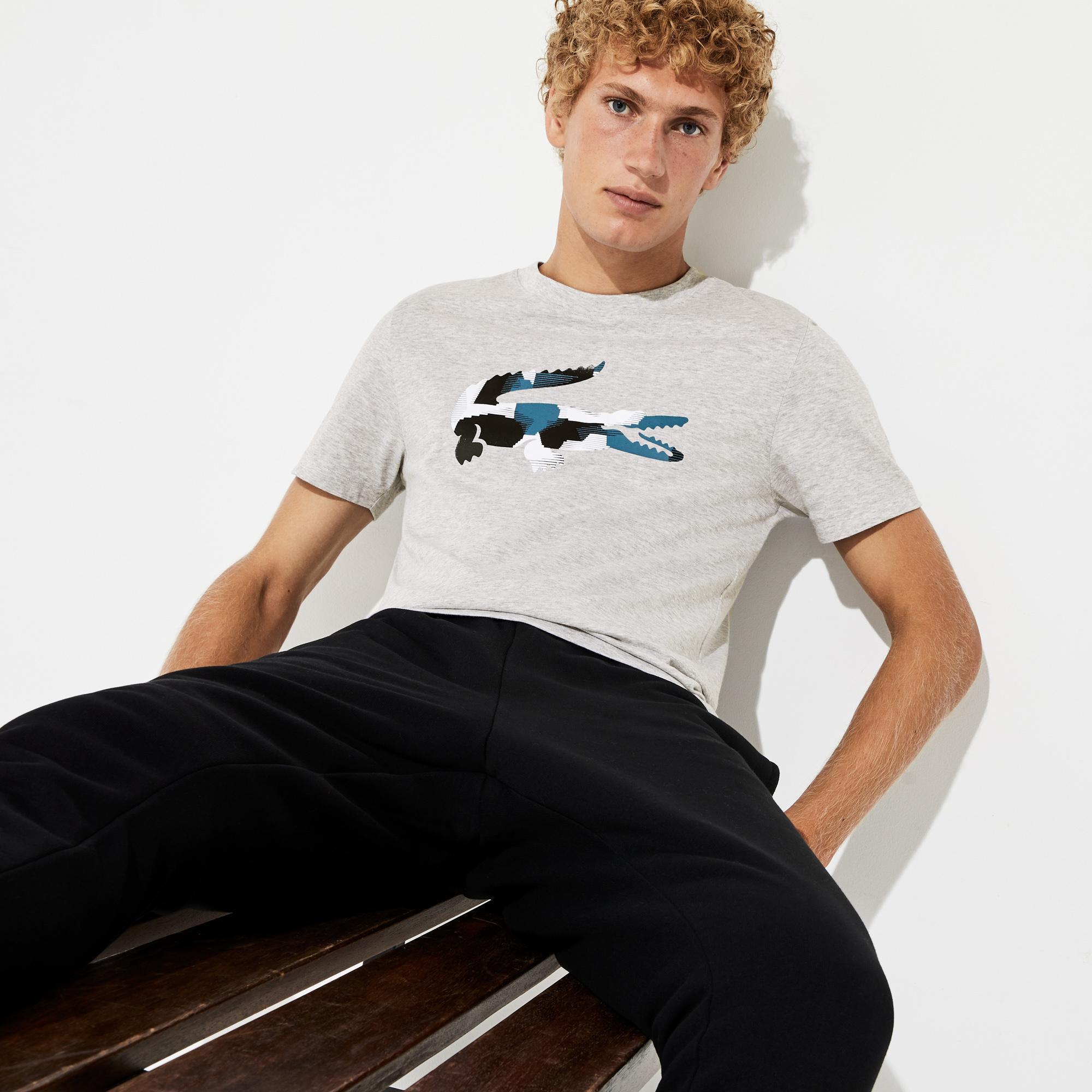 Lacoste Sport Erkek Renkli Timsah Baskılı Gri T-Shirt
