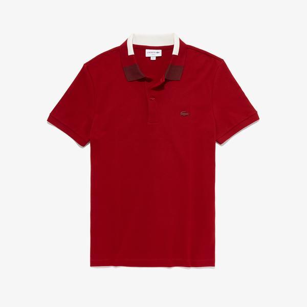 Lacoste Erkek Blok Desen Yakalı Slim Fit Kırmızı Polo