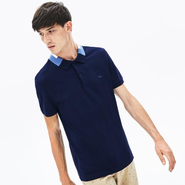 Lacoste Erkek Blok Desen Yakalı Slim Fit Lacivert Polo