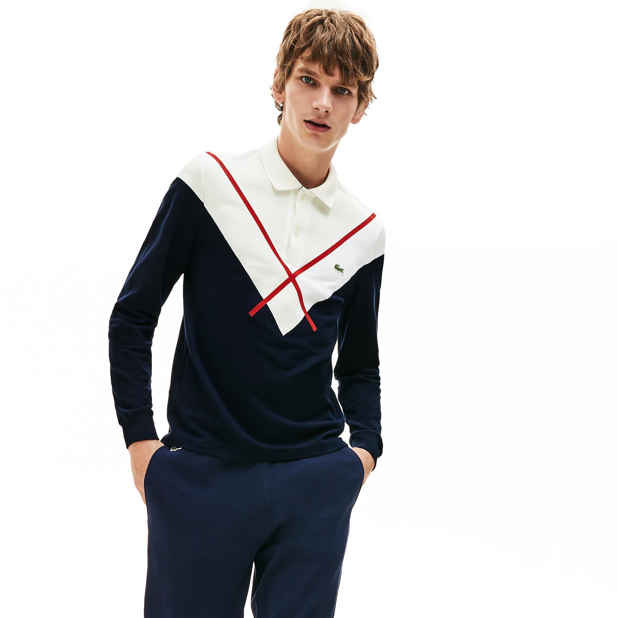 Lacoste Erkek Regular Fit Blok Desenli Uzun Kollu Renkli Polo