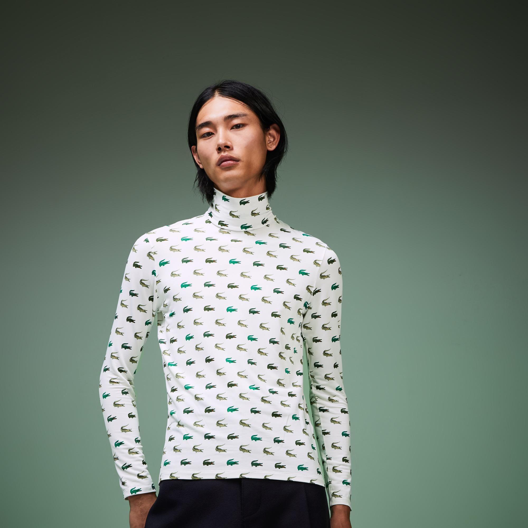 Lacoste Fashion Show Unisex Timsah Baskılı Boğazlı Beyaz Uzun Kollu T-Shirt