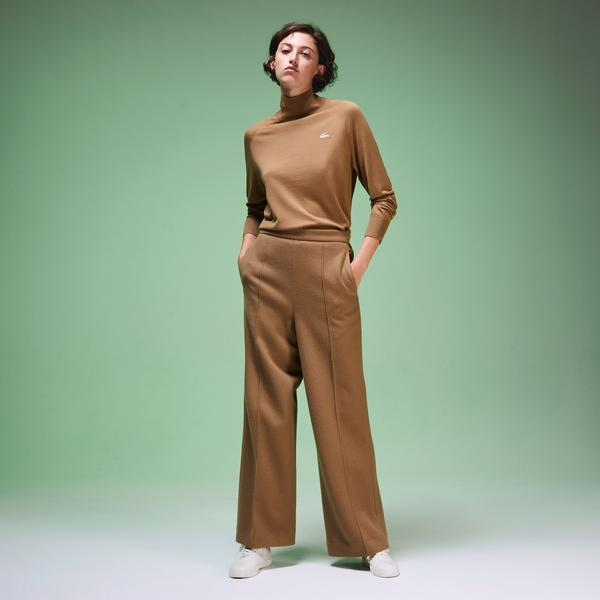 Lacoste Fashion Show Unisex Boğazlı Yün Kahverengi Triko Kazak