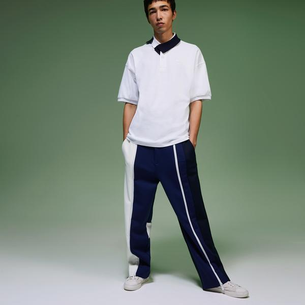 Lacoste Fashion Show Erkek Kontrast Yakalı Beyaz Polo