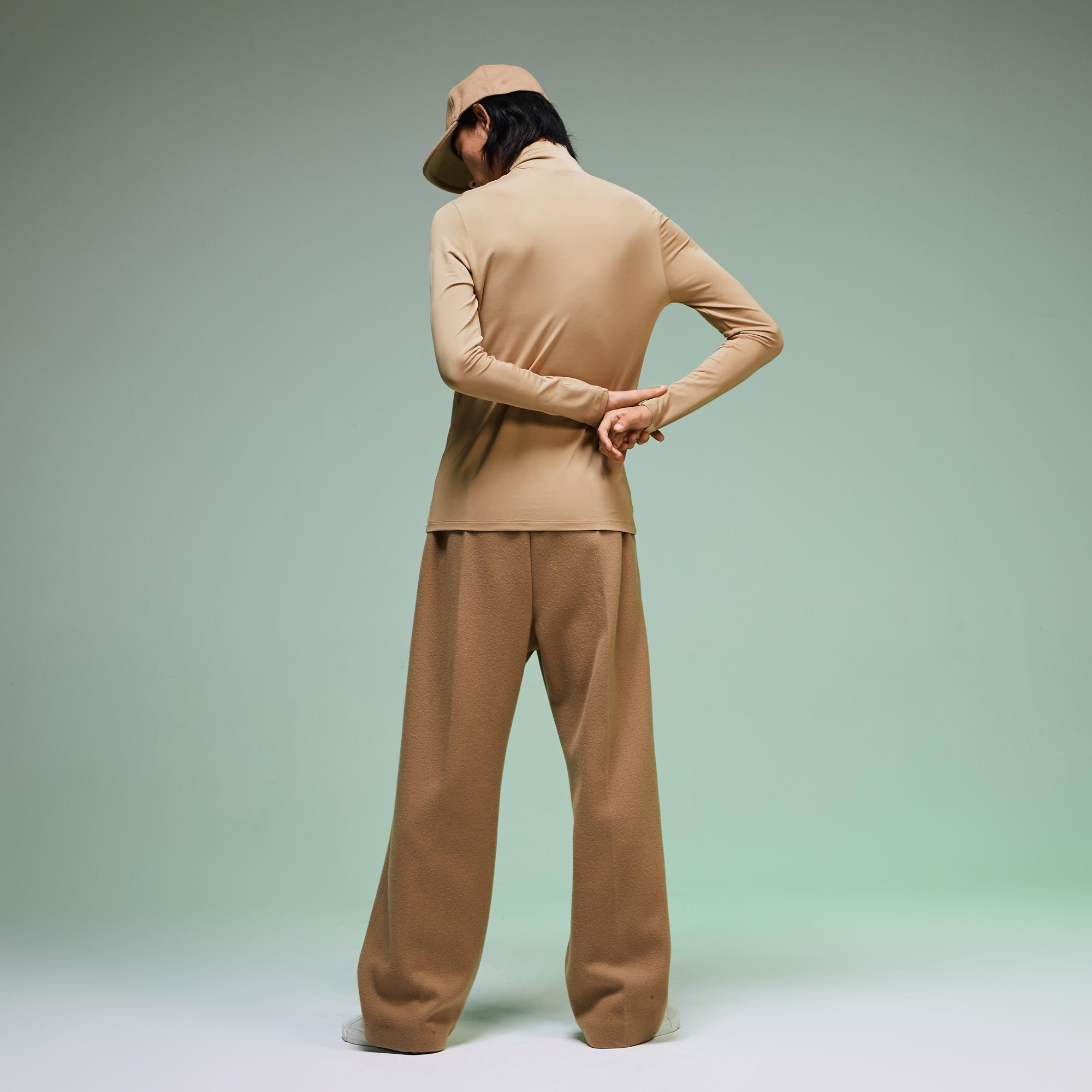 Lacoste Fashion Show Unisex Boğazlı Bej Uzun Kollu T-Shirt