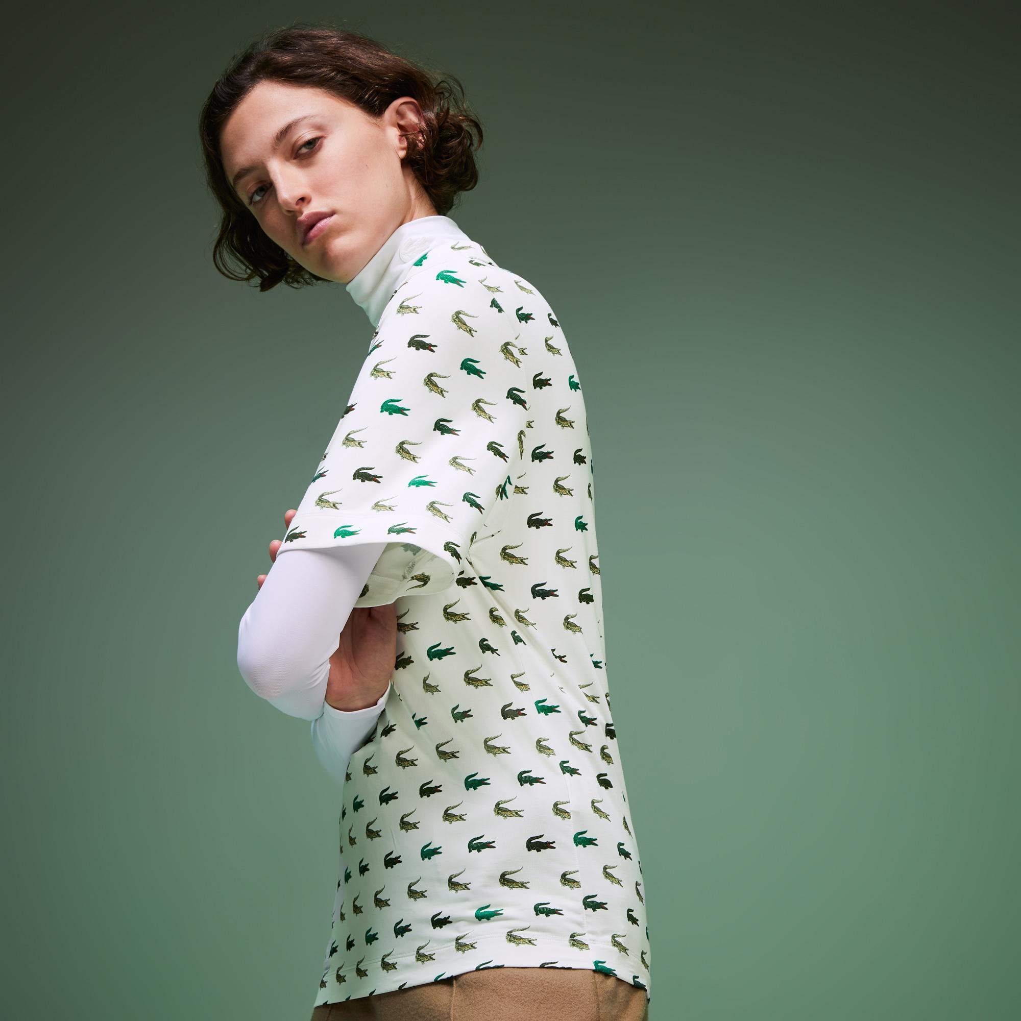 Lacoste Fashion Show Kadın Timsah Baskılı Beyaz Polo
