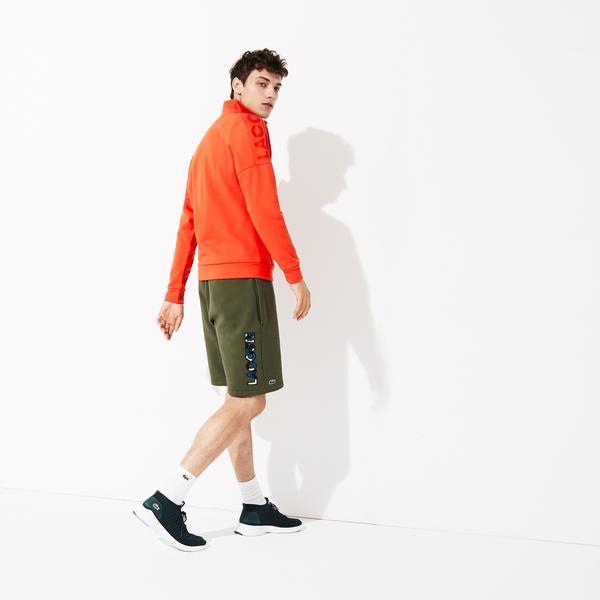 Lacoste Sport Erkek Baskılı Dik Yaka Turuncu Sweatshirt