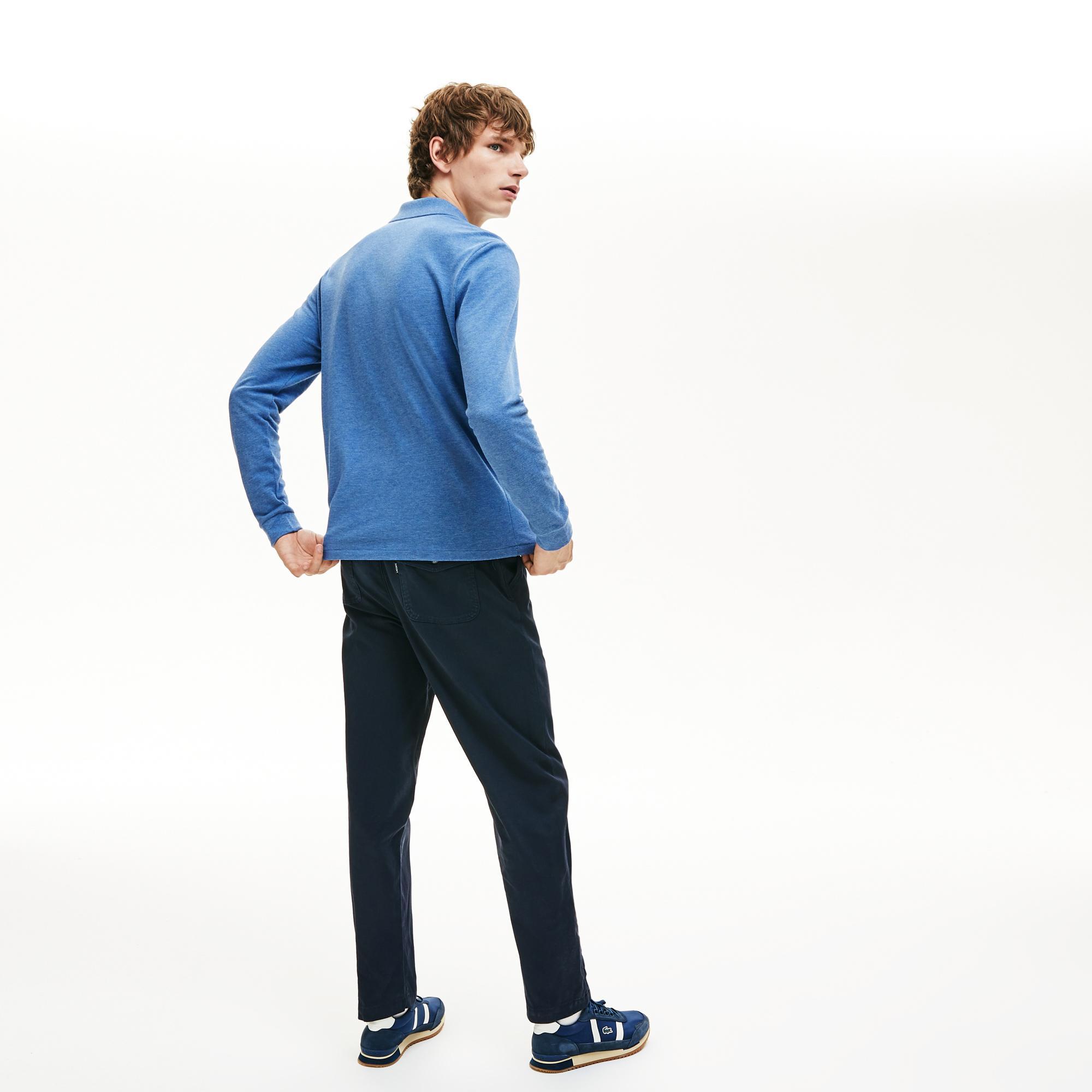 Lacoste Erkek Klasik Fit Uzun Kollu Mavi Polo