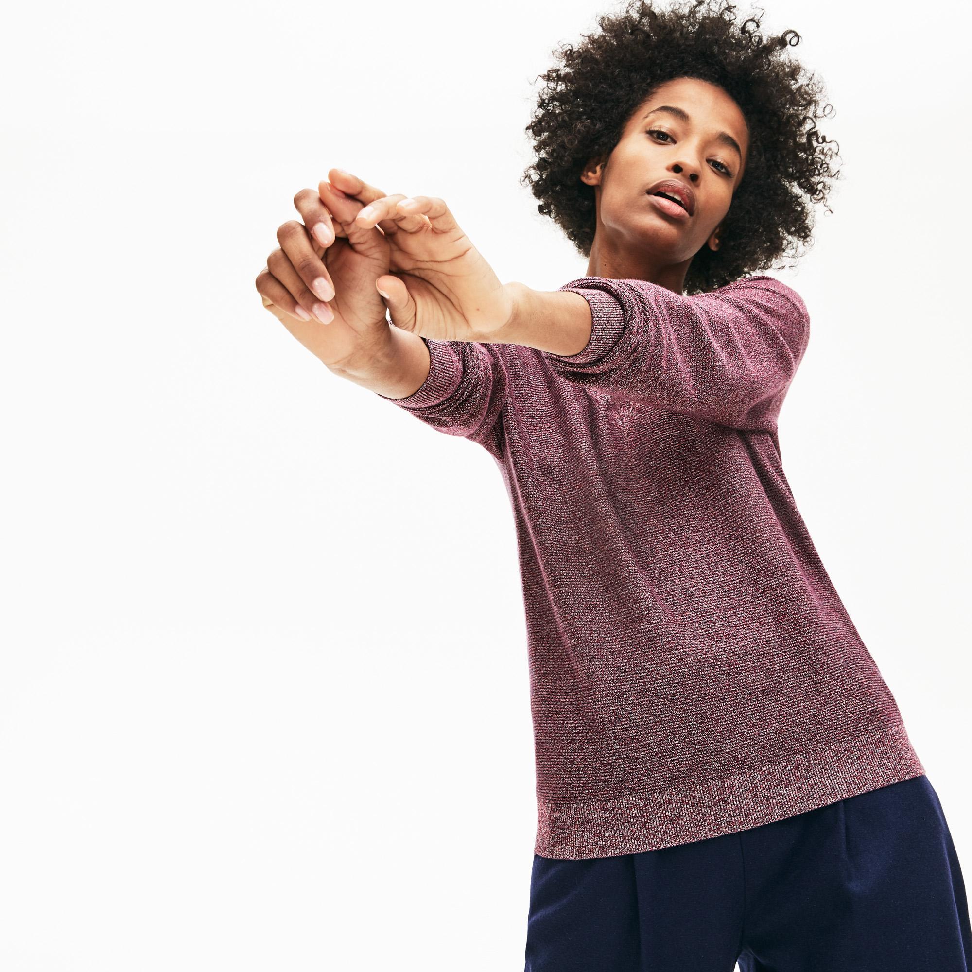 Lacoste Kadın V Yaka Renkli Triko
