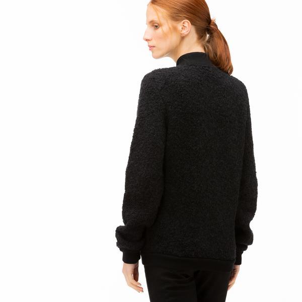 Lacoste Kadın Fermuarlı Siyah Triko Hırka