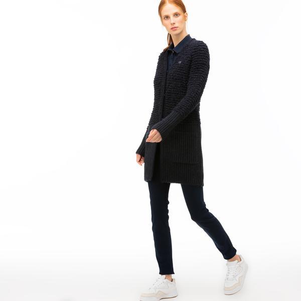 Lacoste Kadın Lacivert Uzun Triko Hırka