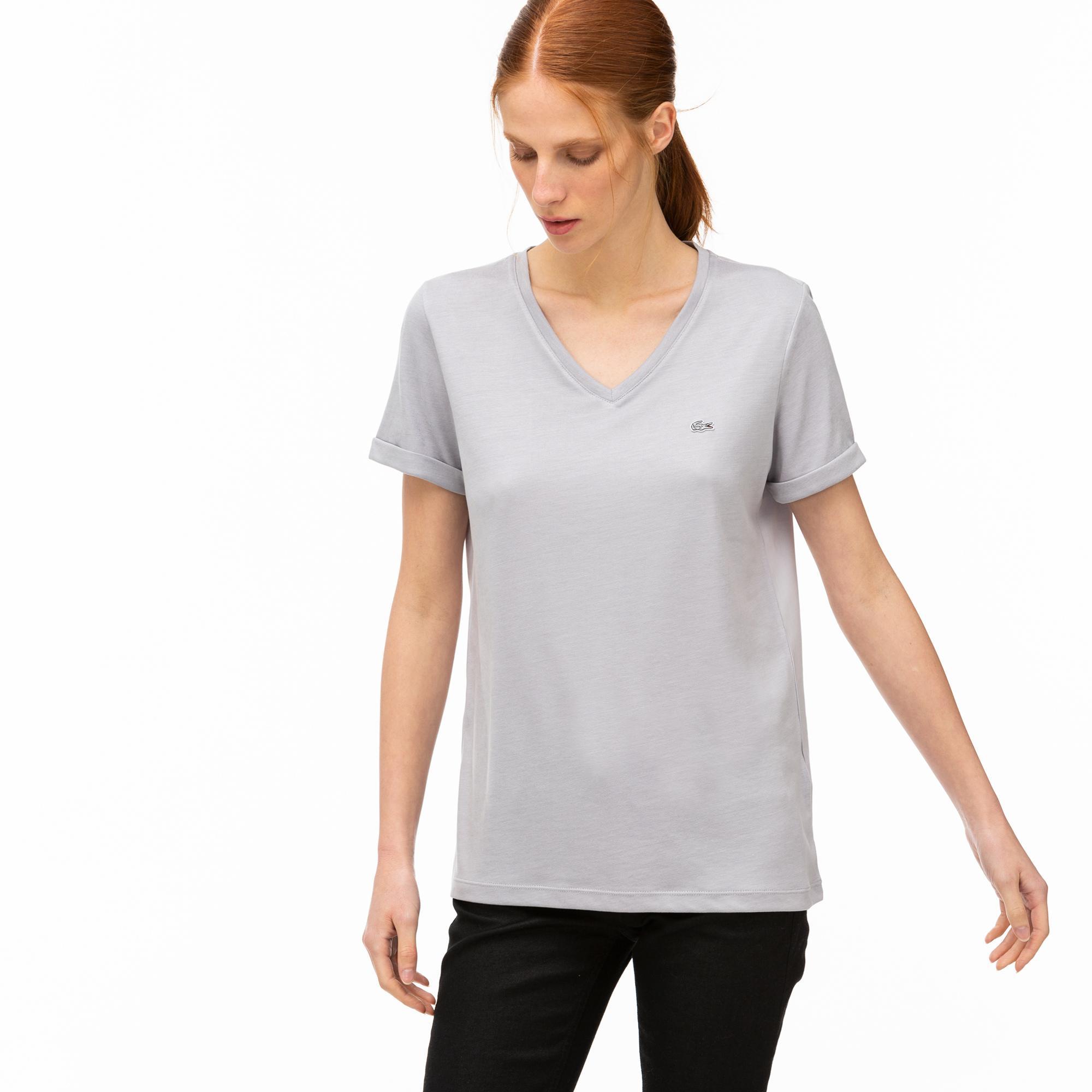 Lacoste Kadın V Yaka Gri T-Shirt