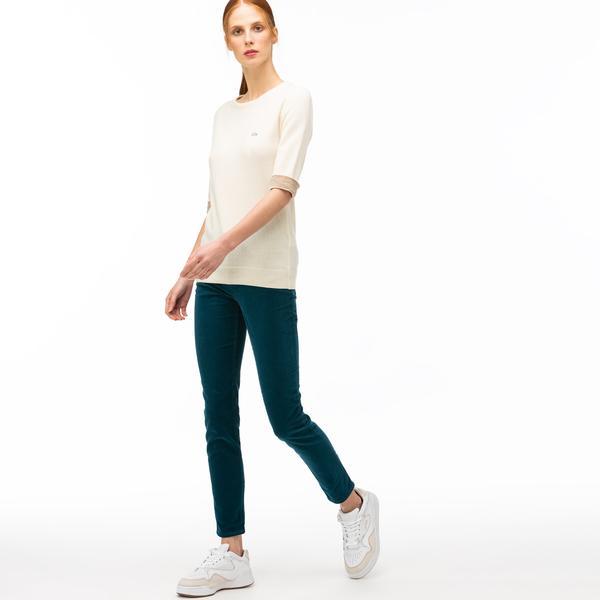 Lacoste Kadın Slim Fit Mavi Kadife Pantolon