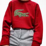 Lacoste Kadın Croco Magic Desenli Bisiklet Yaka Kırmızı Sweatshirt