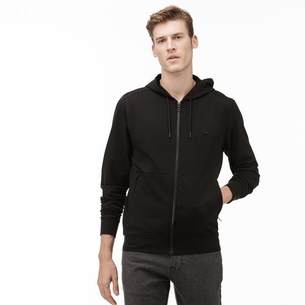 Lacoste Erkek Kapüşonlu Fermuarlı Siyah Sweatshirt