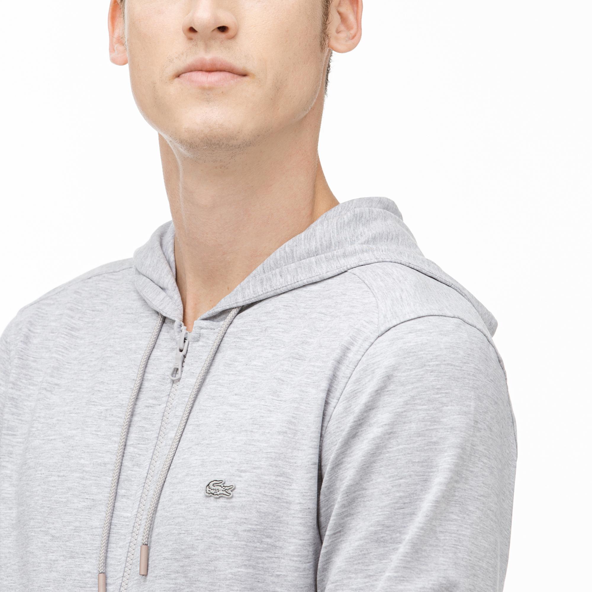Lacoste Erkek Kapüşonlu Fermuarlı Gri Sweatshirt
