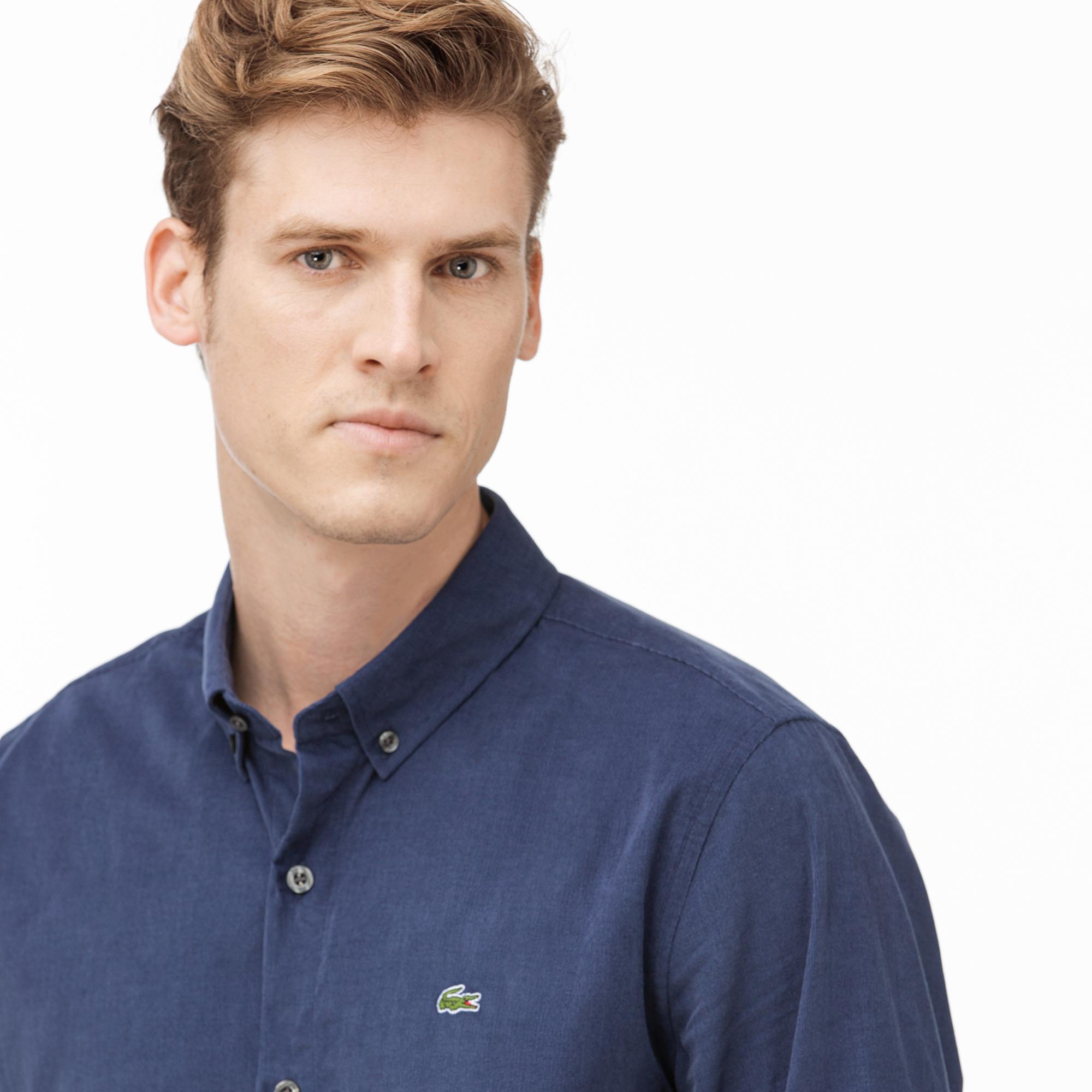 Lacoste Erkek Regular Fit Lacivert Kadife Gömlek