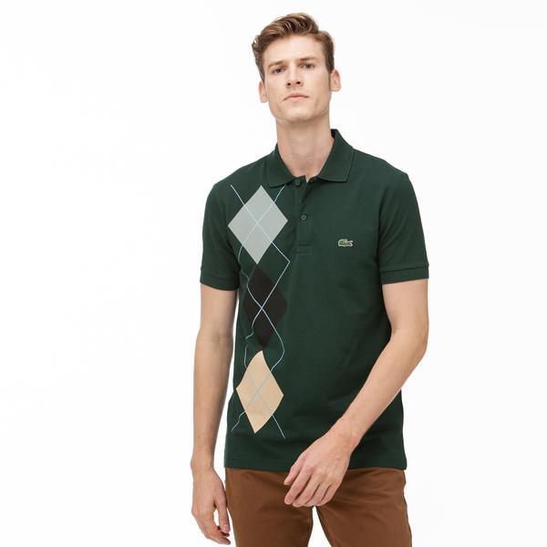 Lacoste Erkek Regular Fit Ekose Desenli Yeşil Polo