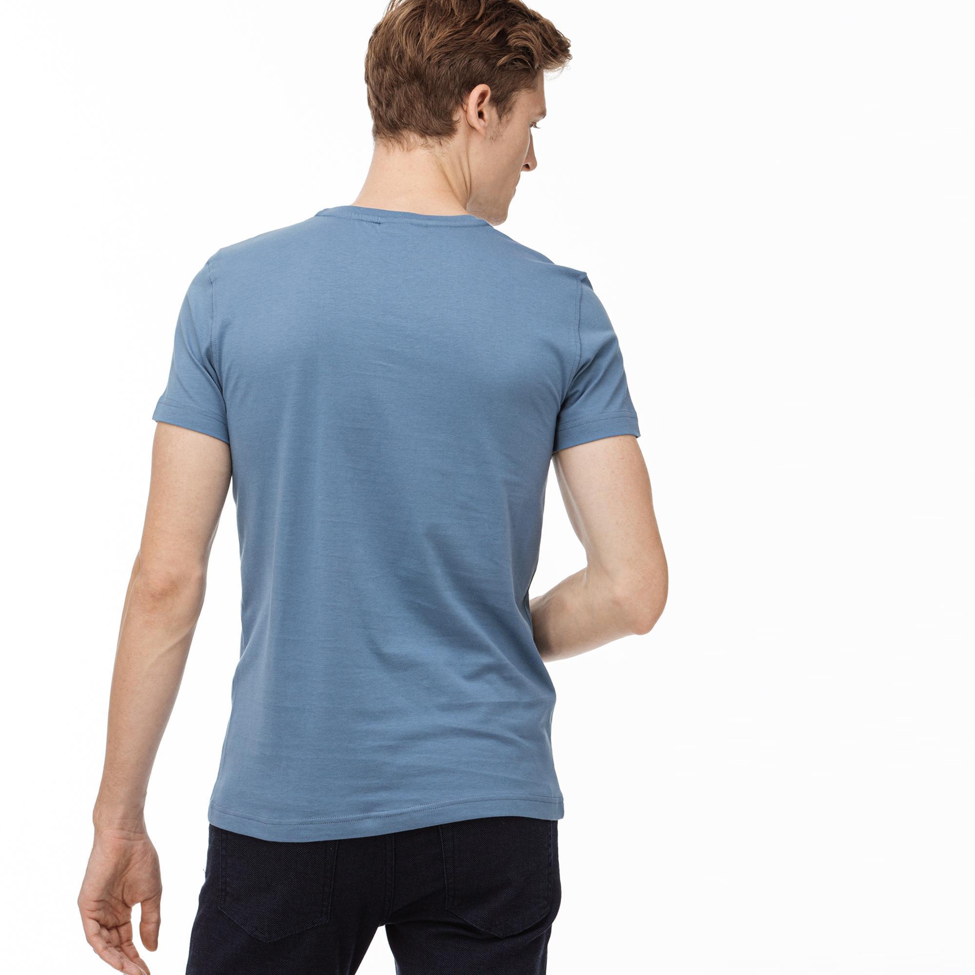Lacoste Erkek Regular Fit Mavi Baskılı T-Shirt