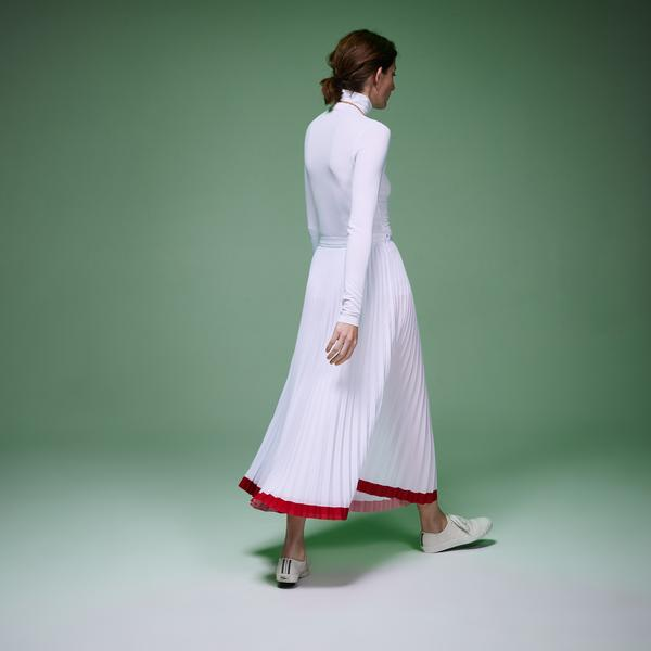 Lacoste Fashion Show Kadın Asimetrik Kesimli Beyaz Etek