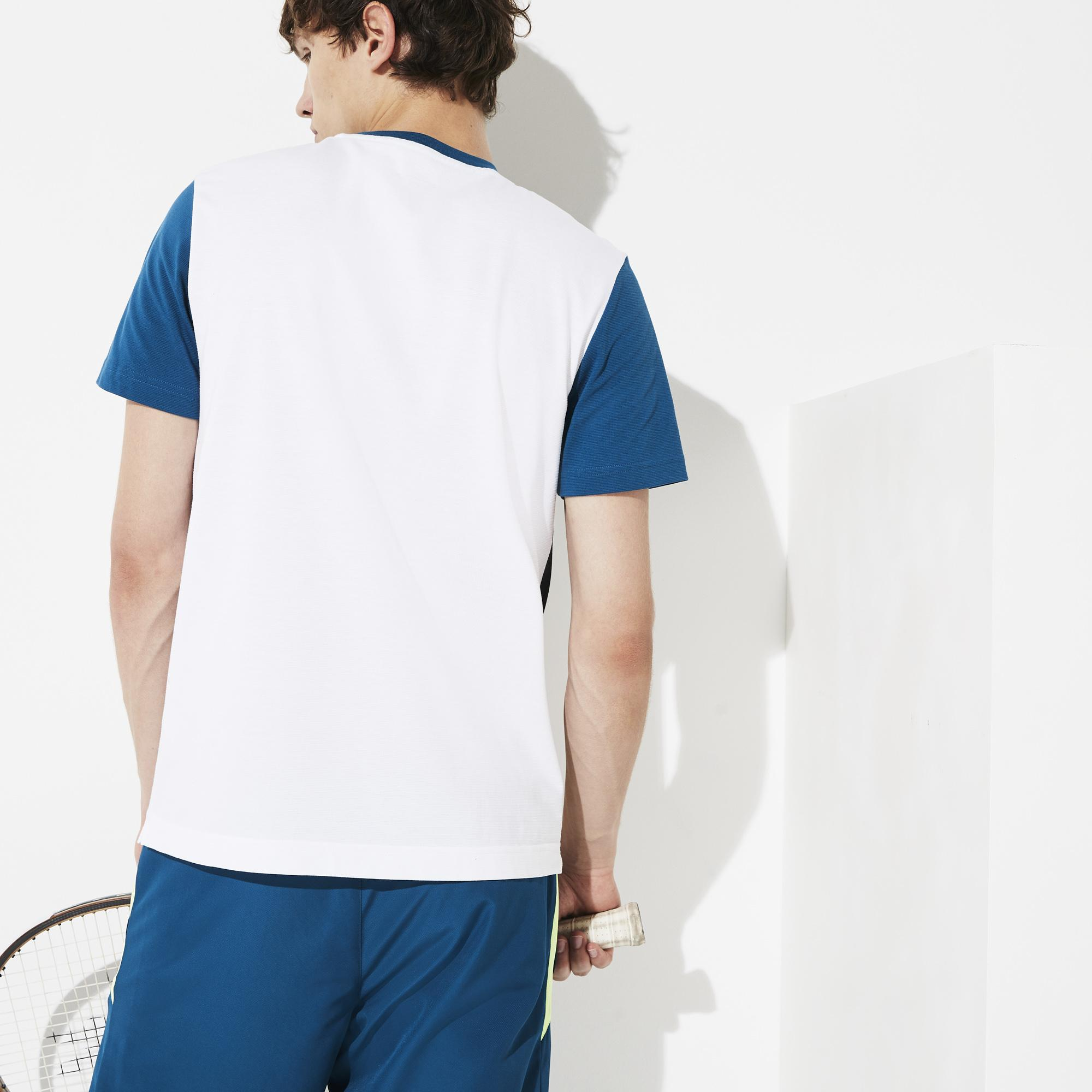 Lacoste Sport Erkek Blok Desenli Beyaz T-Shirt