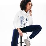 Lacoste Kadın Slim Fit Baskılı Dik Yaka Bej Sweatshirt