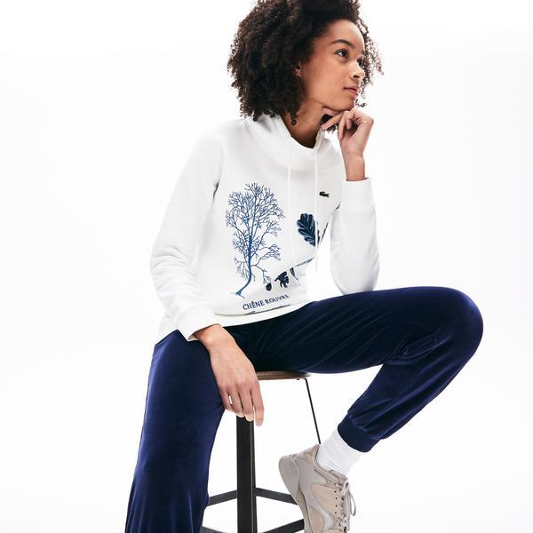 Lacoste Kadın Slim Fit Baskılı Dik Yaka Beyaz Sweatshirt