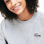 Lacoste Kadın Bisiklet Yaka Desenli Gri Sweatshirt