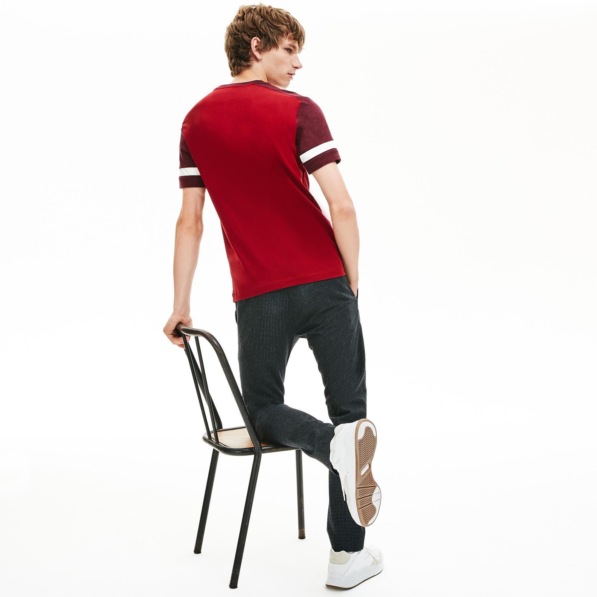 Lacoste Erkek Blok Desenli Kırmızı T-Shirt