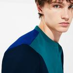 Lacoste Sport Erkek Blok Desenli Bisiklet Yaka Mavi Sweatshirt