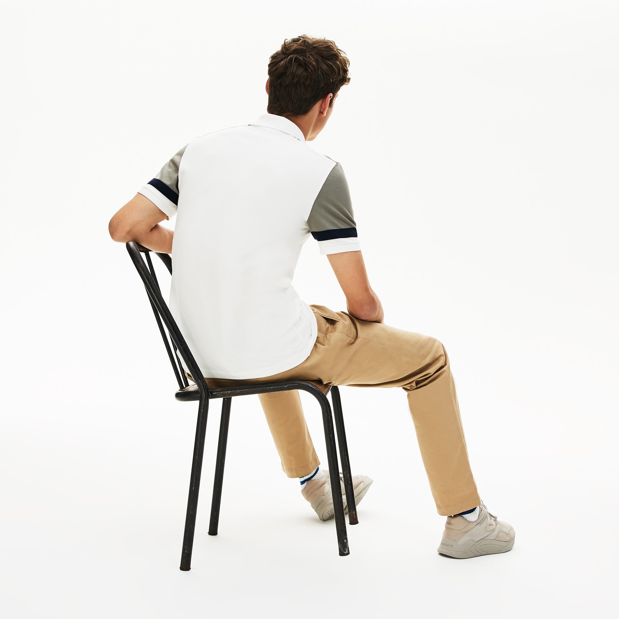 Lacoste Erkek Slim Fit Blok Desenli Beyaz Polo